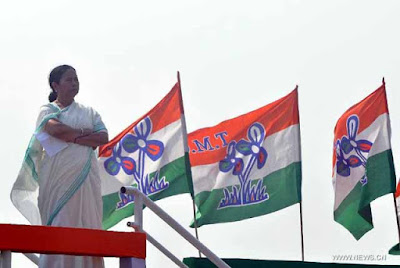 Mamata Banerjee with Trinamool Congress flag
