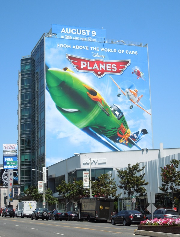 Giant Disney Planes movie billboard Sunset Strip