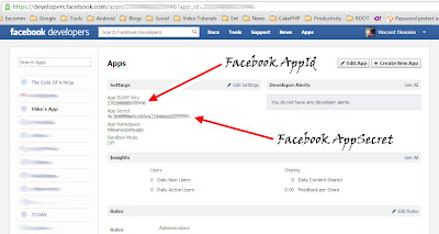copy your Facebook appId and appSecret