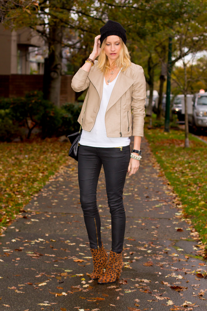Vancouver Fashion Blogger, Alison Hutchinson, wearing Urban Outfitters Tan vegan leather jacket and black beenie, American Apparel white v-neck tshirt, Zara black wax coated denim jeans, Zara leopard print booties, H&M black leather bag, Tiffany, Pyrrha, and La Dama Necklaces; Stella&Dot, True Worth Design, and XO Bella bracelets