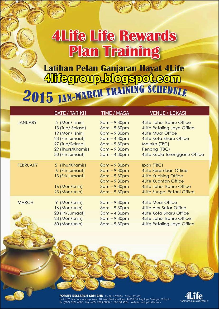 foto Jadual Latihan Pelan Ganjaran Hayat 4Life Januari - Mac 2015