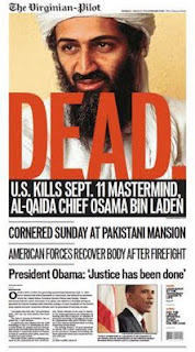 front page of today's va pilot- osama bid laden