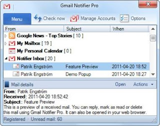 Gmail accounts, Windows application, Gmail Notifier, Google Apps, Google Contacts, calendar events