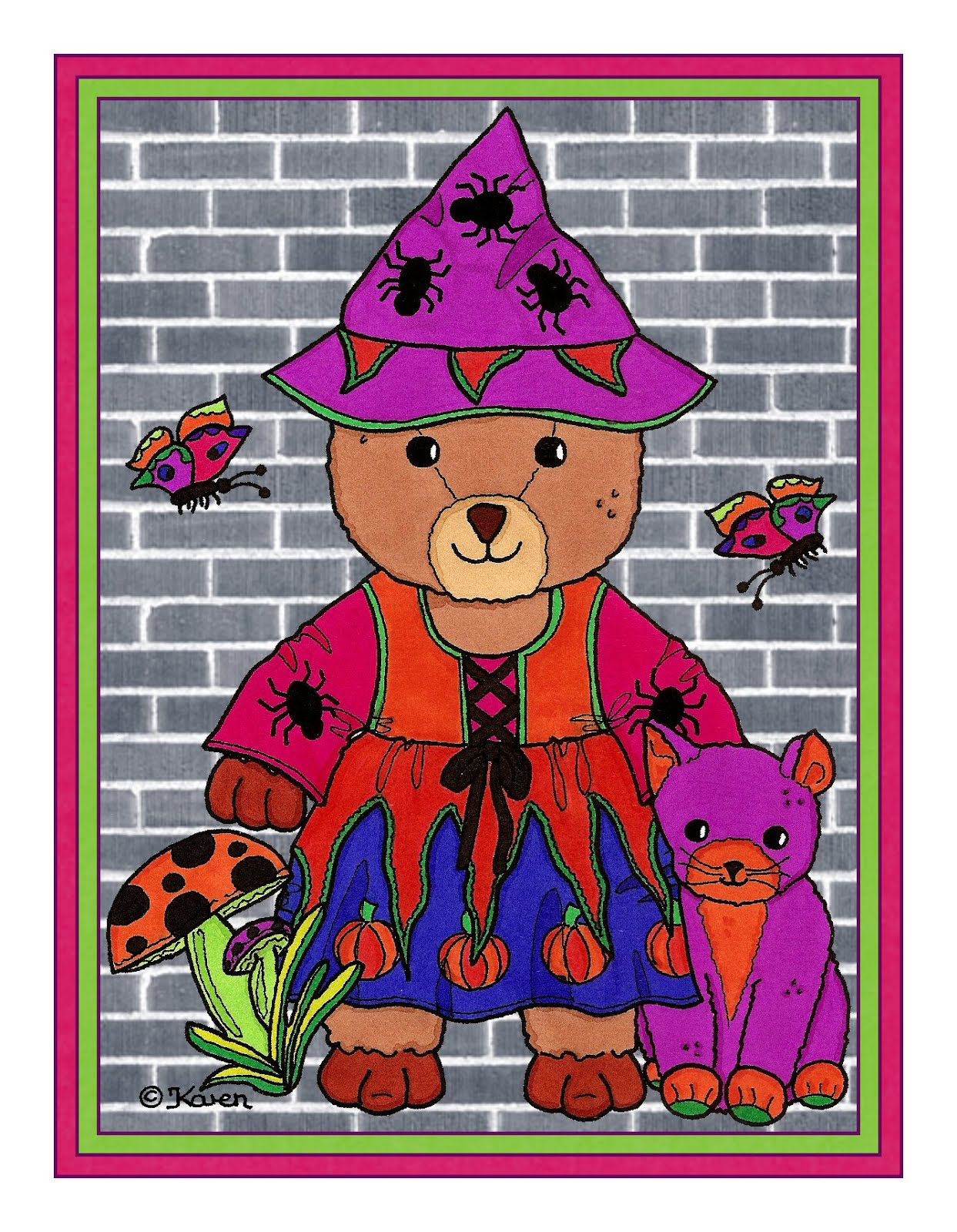 Rosa Halloween Postcard and Cut-outs.
