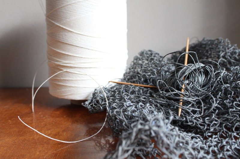 Knitting with paper cord