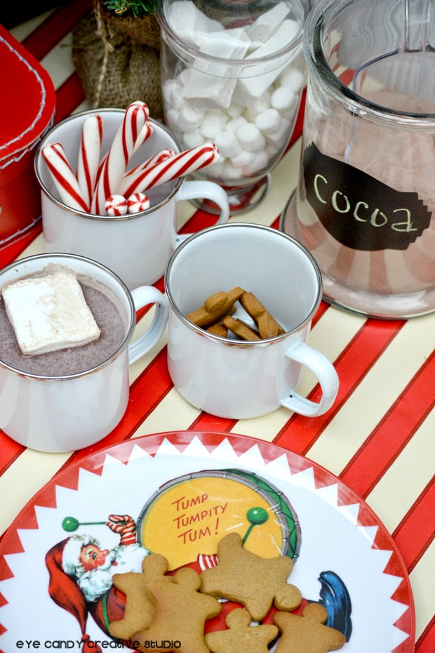 cocoa bar, candy canes, santa, the night before christmas