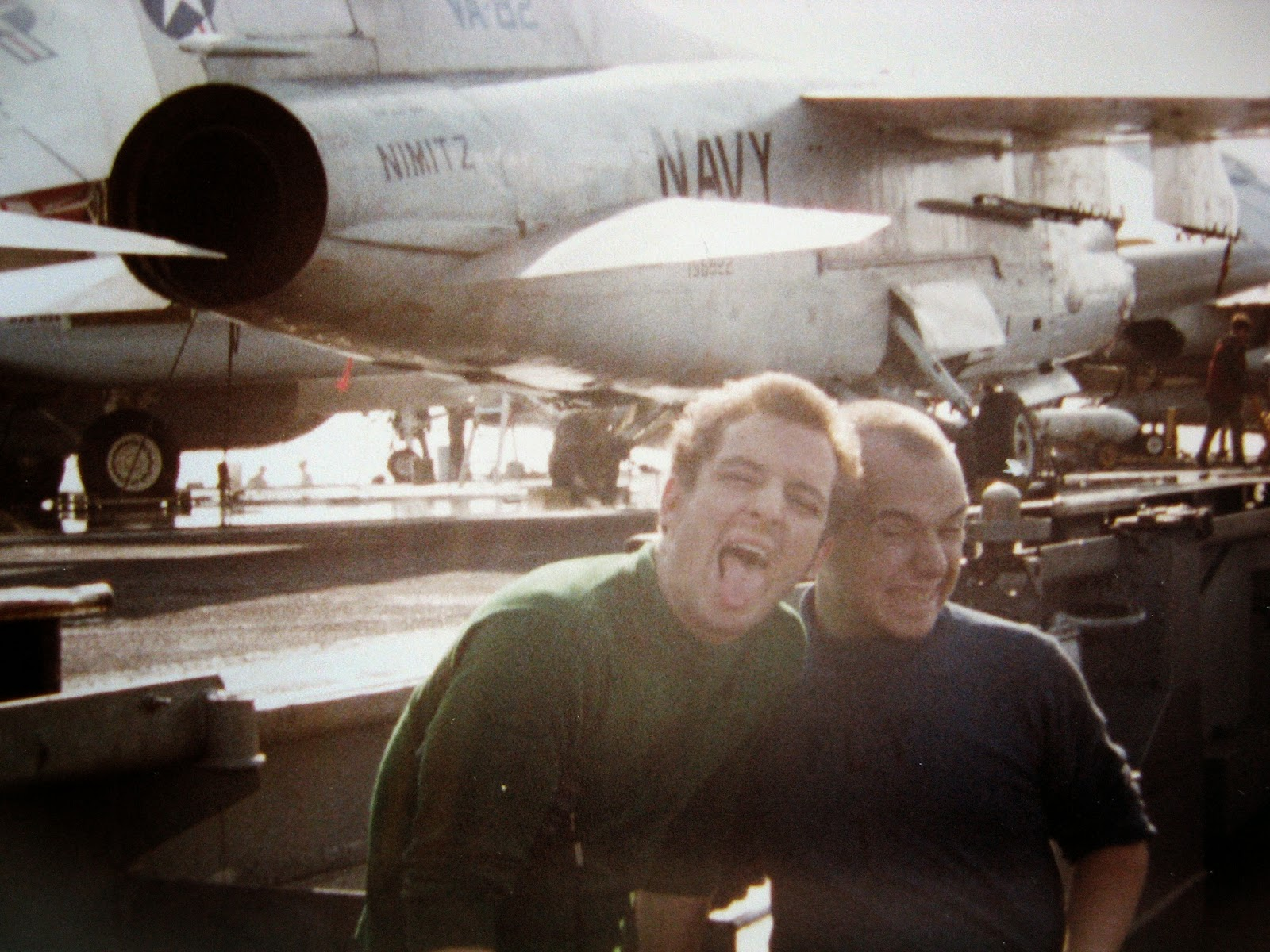 Billy (right) and pal on the Nimitz flight deck 1982/83