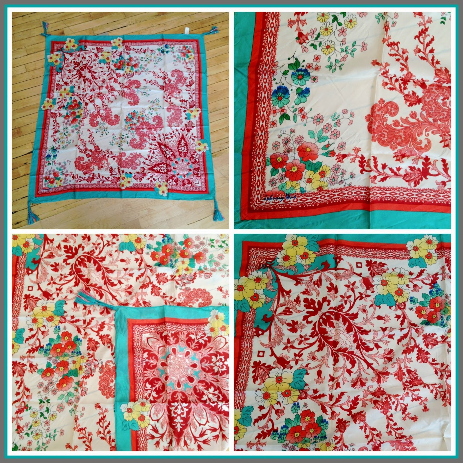 Red Embroidered Silk Scarf by Johnny Was ($88)