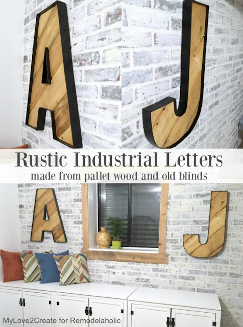 Rustic Industrial letters made from pallet wood and old blinds, MyLove2Create