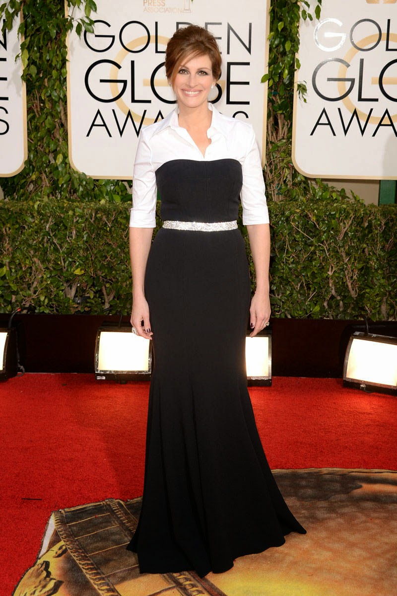 Julia Roberts in black and white modest dress by Dolce & Gabbana