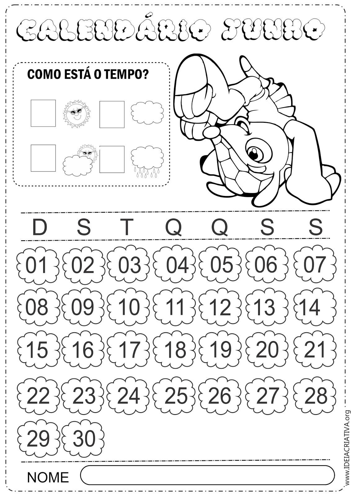 Calendários Junho Copa do Mundo 2014 Fuleco para Imprimir