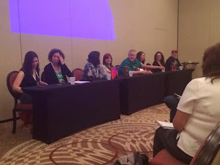 SF:SE 2015 worldbuilding panel You're In My World Now, Grandma on Friday afternoon with Orson Scott Card, Melissa Gibbo, Thomas Lucas, Maria V. Snyder, E.J. Stevens, Rachel Vincent, Jacqueline Carey, and Alia Luria