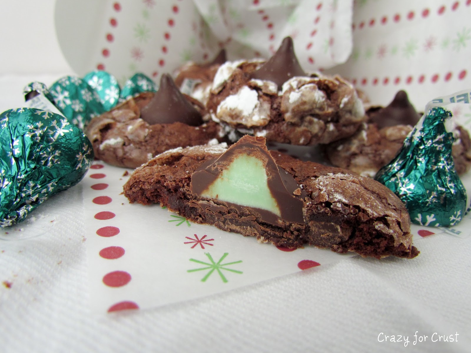 Chocolate Mint Kiss Crinkles - Crazy for Crust