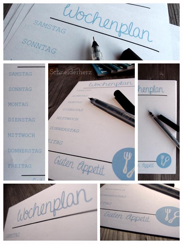 free printable Speiseplan Wochenplan Druckvorlage
