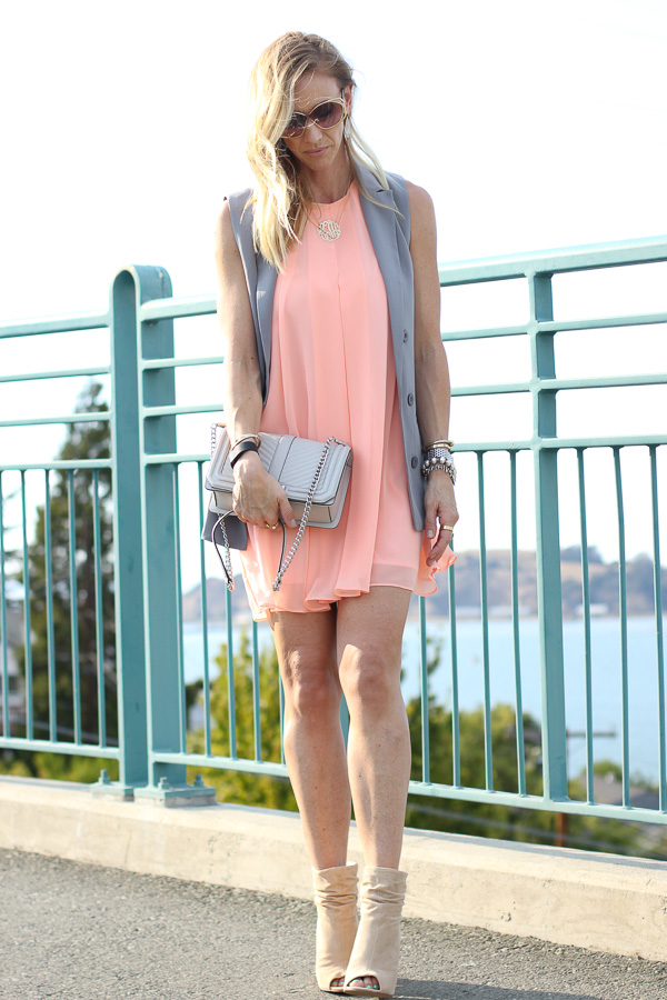 parlor girl peach shift dress with blazer vest