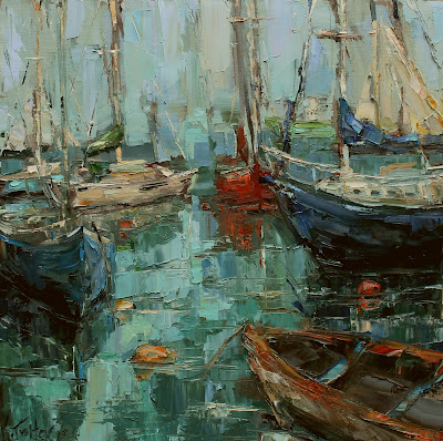 New England Harbor, oil painting of boats, harbor scene, kathryn morris trotter, www.kathrytrotterart.com, kathryn trotter atlanta, sail boat painting