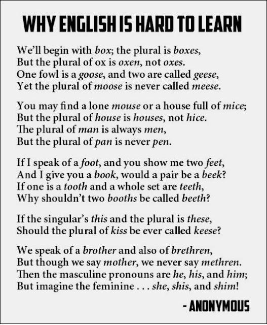 Трудный английский - стихотворение на английском