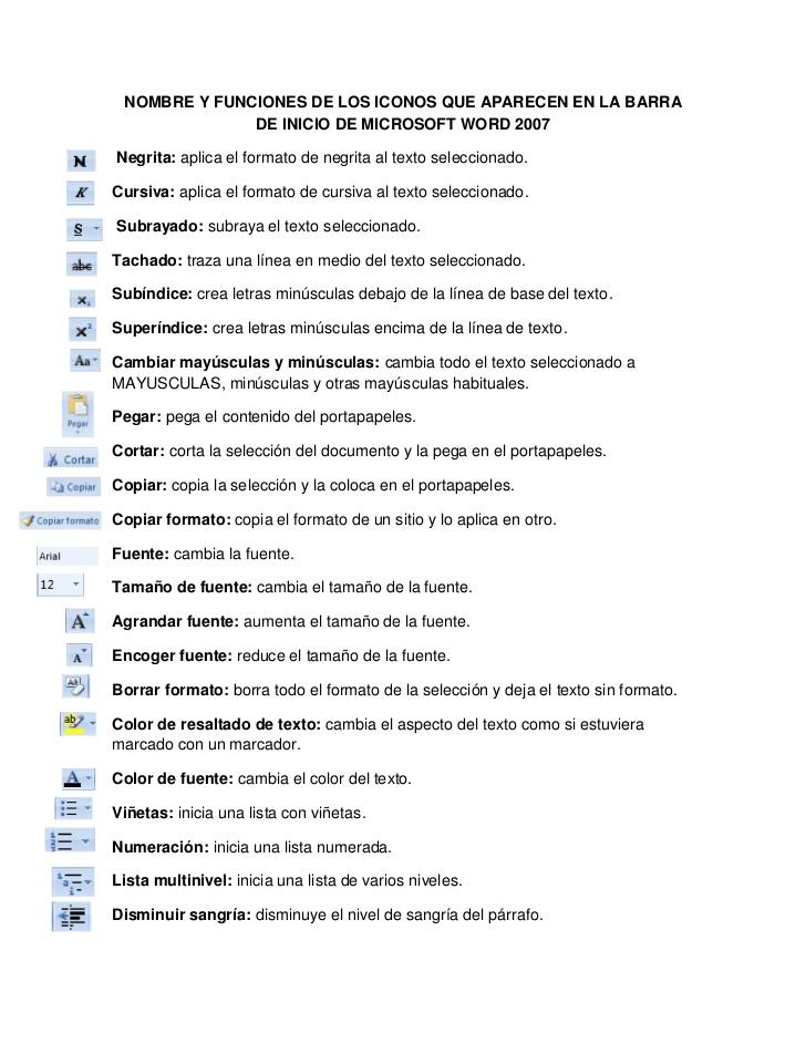 NOMBRE YFUNCIONES DE LOS ICONOS