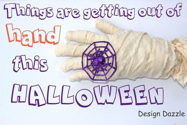 DIY Mummy Hand, mummy, halloween, rubber glove, fabric, spider web