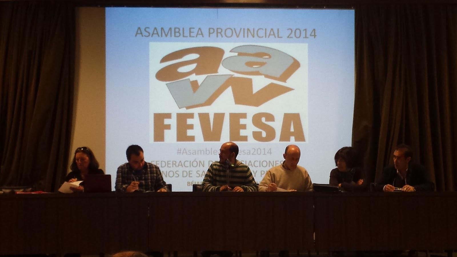 Mesa de la asamblea de FEVESA en la escuela de ingenieros de Béjar