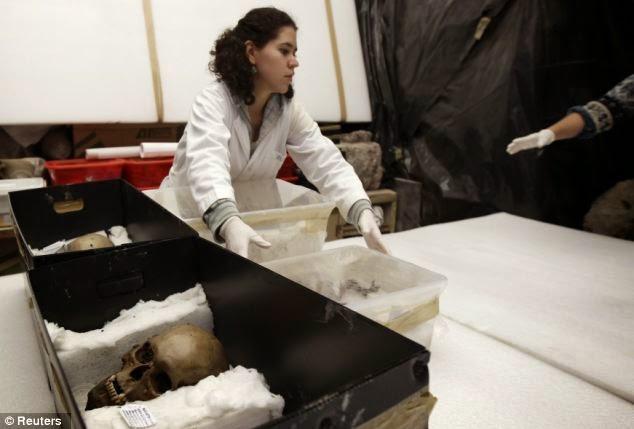 cráneos usados en sacrificios aztecas