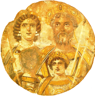 Publius Septimius Geta's face scraped from a family portait