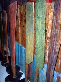 blue painted wood, antiques, Kerobokan, Bali