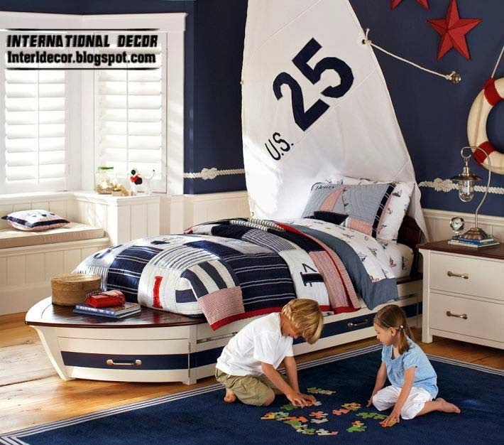 children room ideas in marine style, kids boat bed