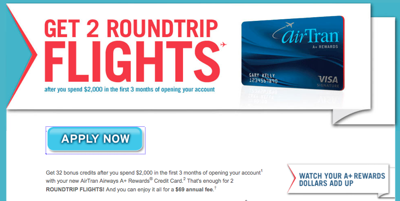 2 free roundtrip flights from airtran credit card offer we travel cheap. Black Bedroom Furniture Sets. Home Design Ideas