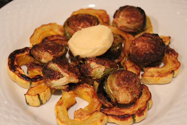 Maple buttered roasted squash and brussels sprouts