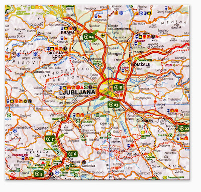 Mapa da região de Liubliana – Eslovênia