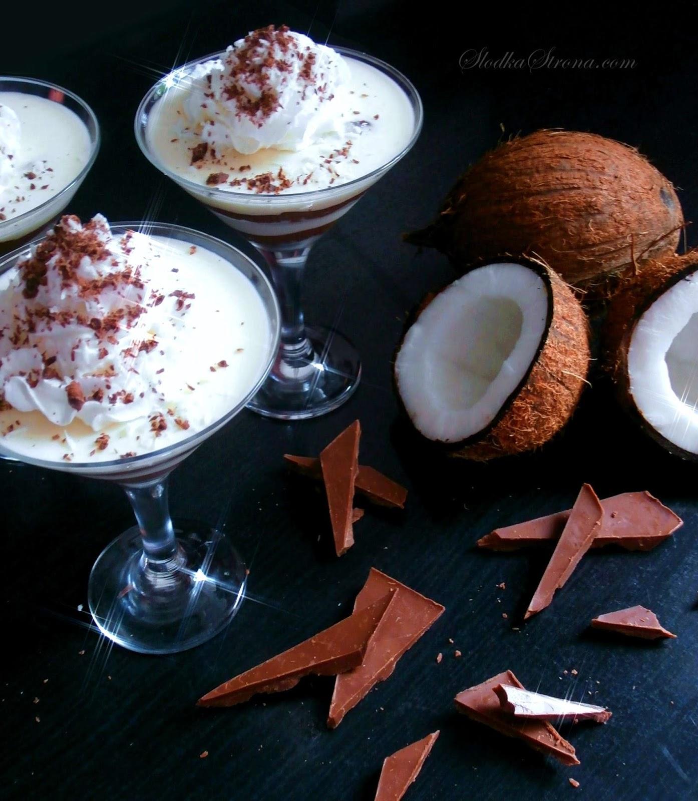 Kremowy Deser Kokosowy z Nutellą - Przepis - Słodka Strona