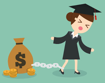 illustration of a graduate chained to a money bag