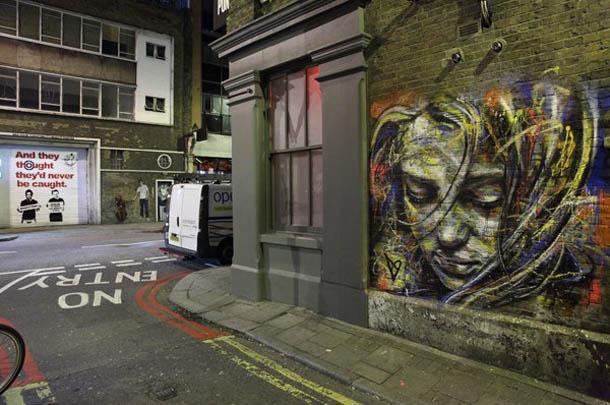 Arte Urbana - retratos femininos em graffiti de David Walker