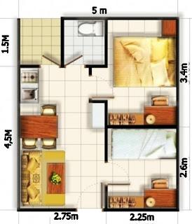 9 sketsa denah rumah modern minimalis type 36 dengan 2