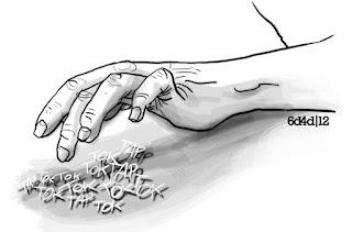 mano repiqueteando en la sala de espera, dibujo  6.dilly4dally