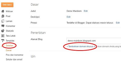 Cara Setting Domain untuk Blogger
