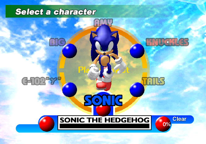 Sonic Adventure Character Select