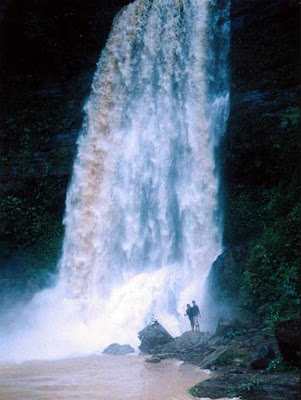 Scenic scenery of waterfall in rainy season