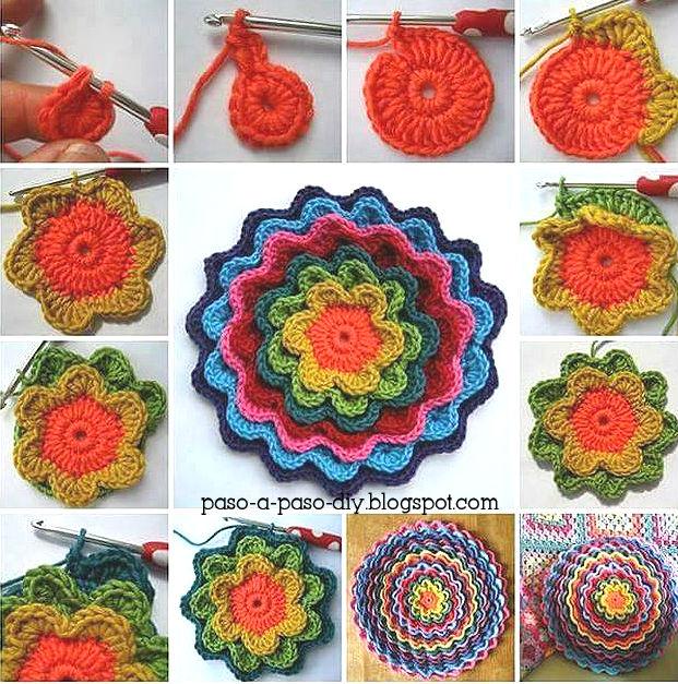 Cómo tejer almohadón de flores concéntricas al crochet | Paso a Paso
