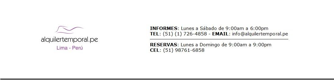 Alquiler de departamentos amoblados temporales en lima-Perú