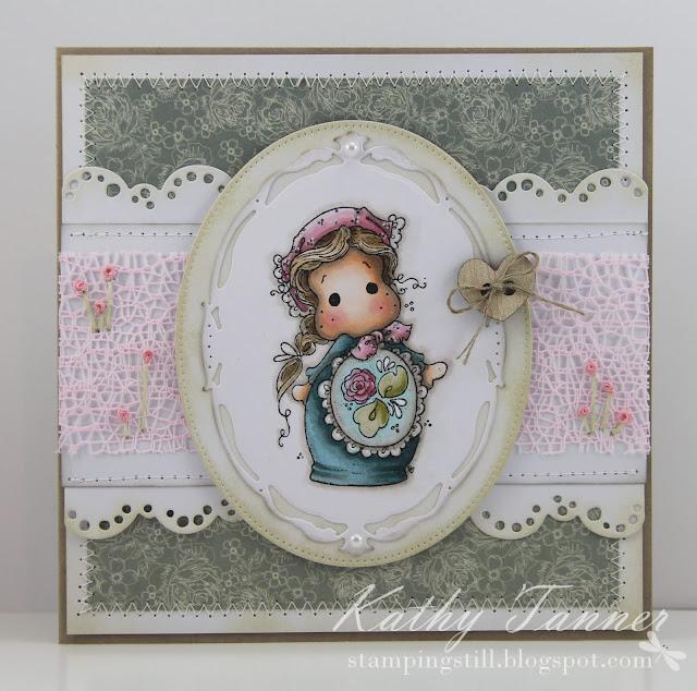 Matryoshka Tilda, Magnolia, tilda lace, sweet pea kaisercraft, opulent ovals, pierced oval stax