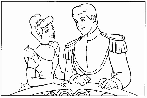 two coloring pages that show cinderella and prince charming at the ball - Prince Coloring Pages 2