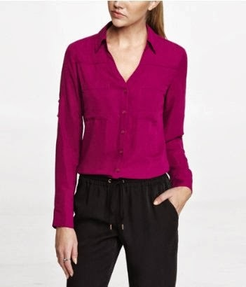 Express portofino shirt, blouse, top, wild orchid color