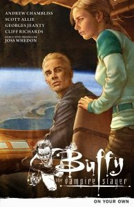 Cover art for a trade collection from Buffy the Vampire Slayer, Season 9. It features a painting of Buffy and Spike on the bridge of an airship, overlooking a body of water far below