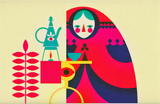 colorful illustration of a woman drinking tea by patrick hruby