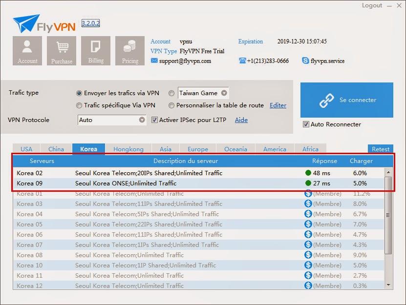 Serveur VPN gratuit coréen