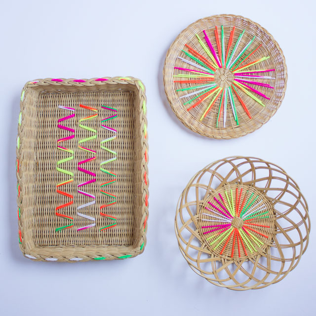 Yarn embroidered baskets