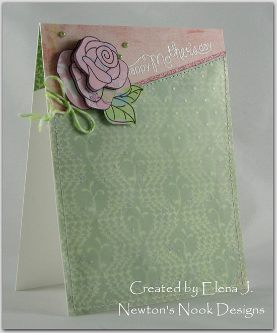 Mother's Day Rose card by Elena J for Newton's Nook Designs