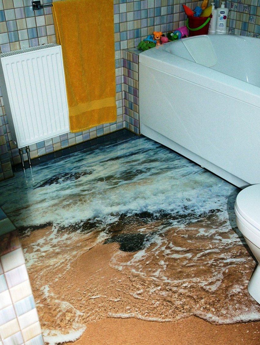 3D Floor Style On Bathroom 1